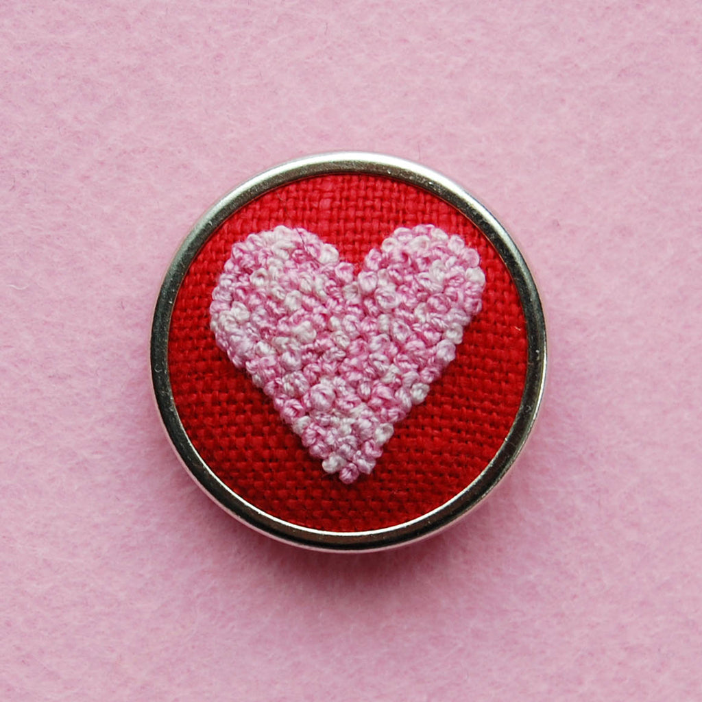 Hand Embroidered Pin - Heart 5 Pinks on Red