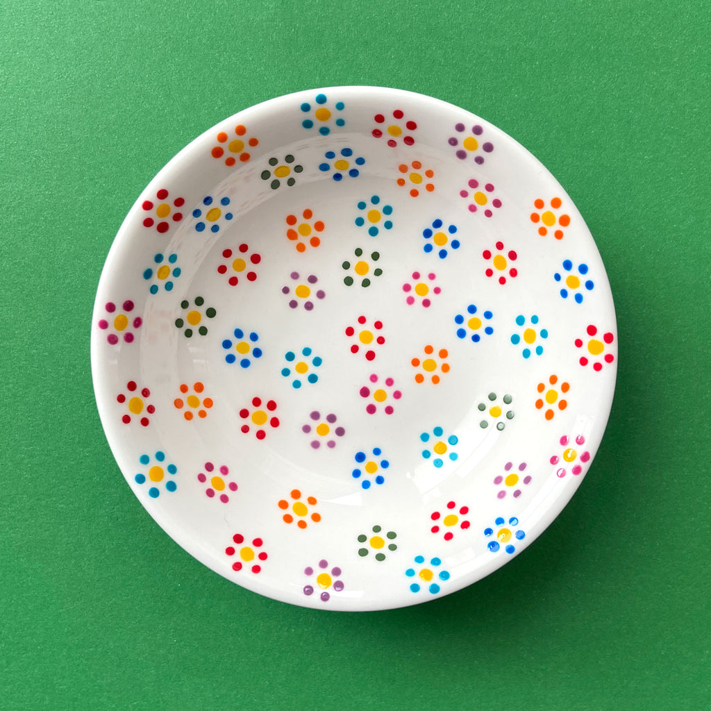 Dotted Flowers Multicolor - Hand Painted Porcelain Round Bowl