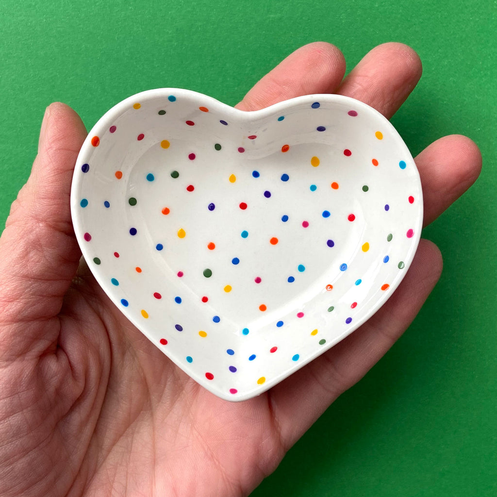 Rainbow Dot All Over 13 - Hand Painted Porcelain Heart Bowl