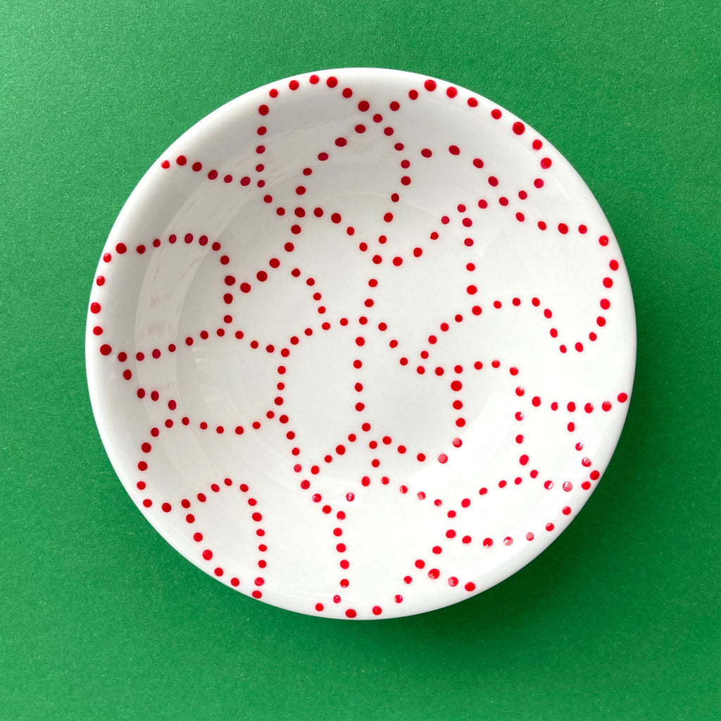 Red Dot Trails - Hand Painted Porcelain Round Bowl