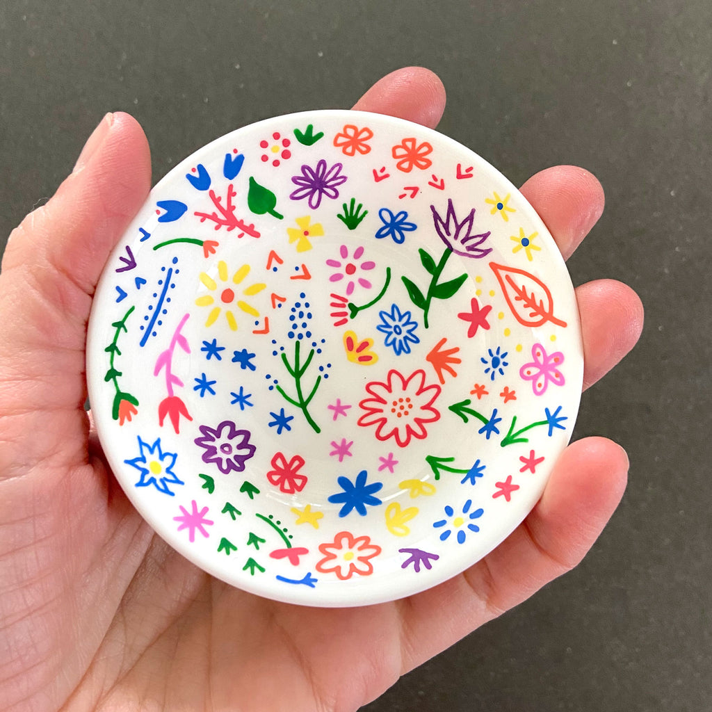 Rainbow Flowers 18 - Hand Painted Porcelain Round Bowl