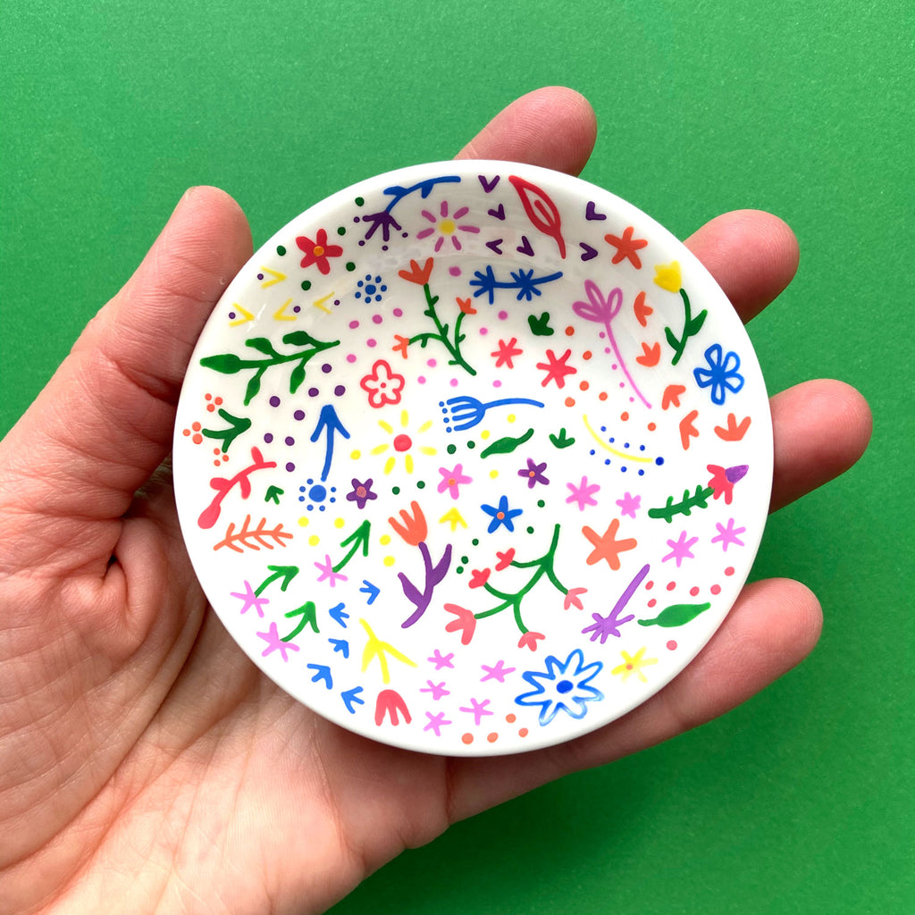 Rainbow Flowers 19 - Hand Painted Porcelain Round Bowl