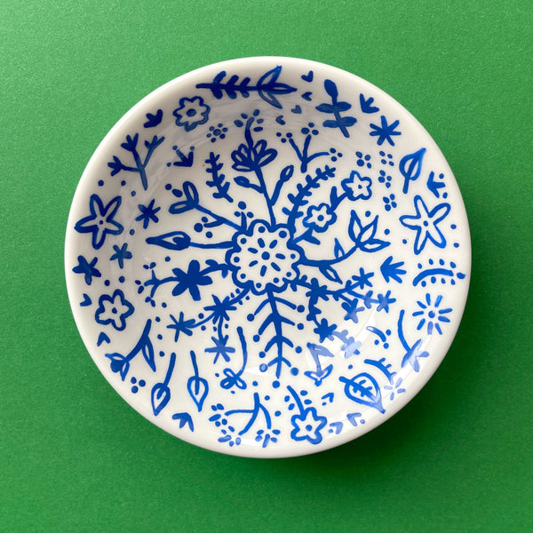 Blue Painted Flowers - Hand Painted Porcelain Round Bowl