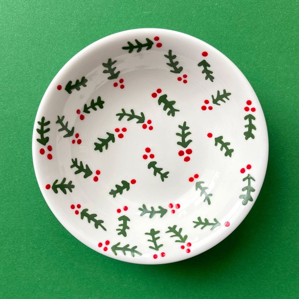 Holly - Hand Painted Porcelain Round Bowl