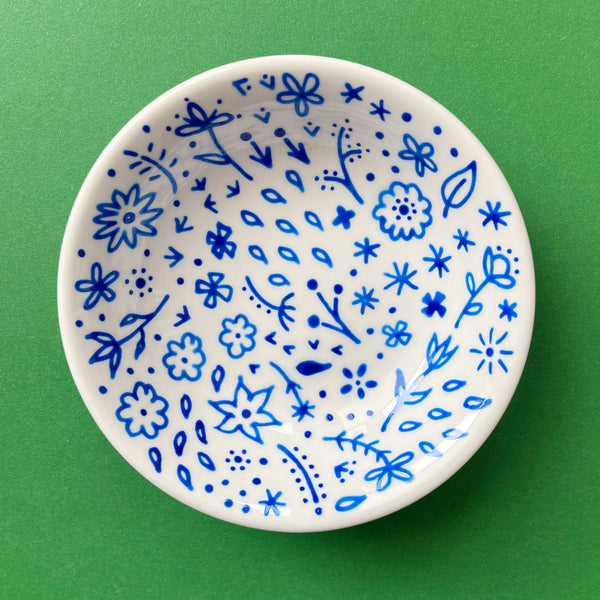 Blue Flowers All Over 4 - Hand Painted Porcelain Round Bowl