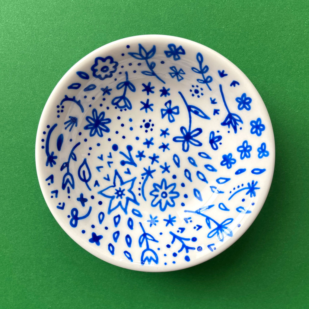 Blue Flowers All Over 5 - Hand Painted Porcelain Round Bowl