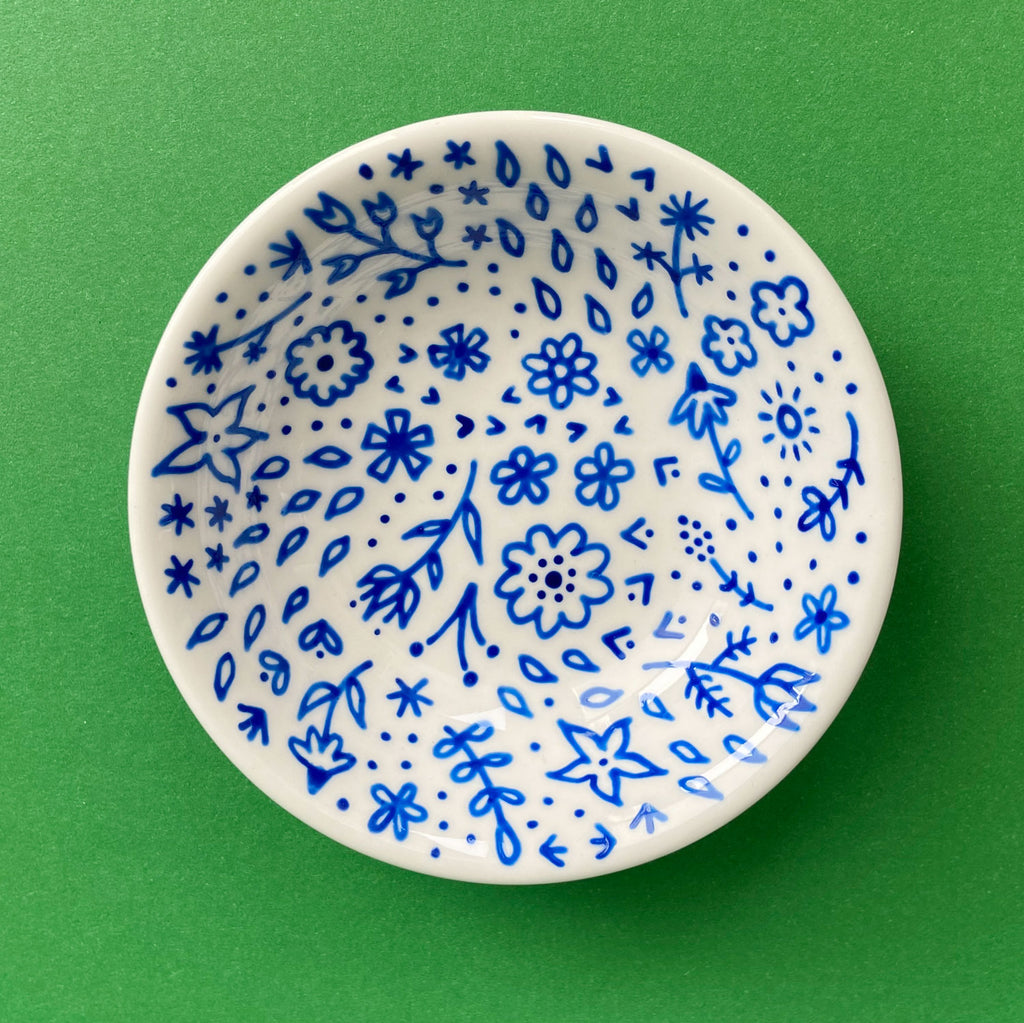 Blue Flowers 6 - Hand Painted Porcelain Round Bowl