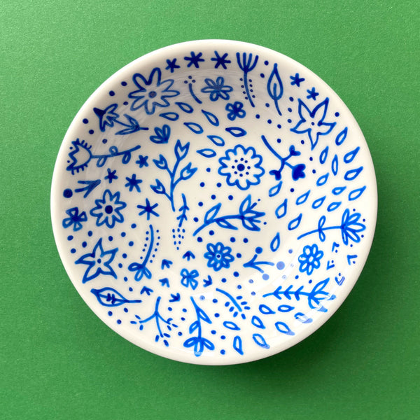 Blue Flowers 7 - Hand Painted Porcelain Round Bowl