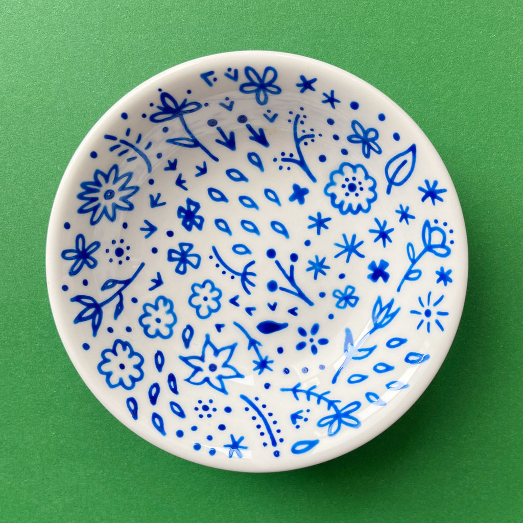 Blue Flowers 8 - Hand Painted Porcelain Round Bowl