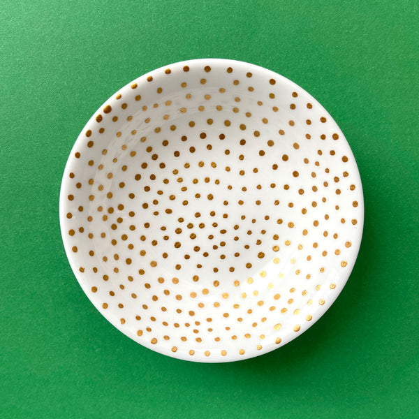 Gold Dots All Over - Hand Painted Porcelain Round Bowl