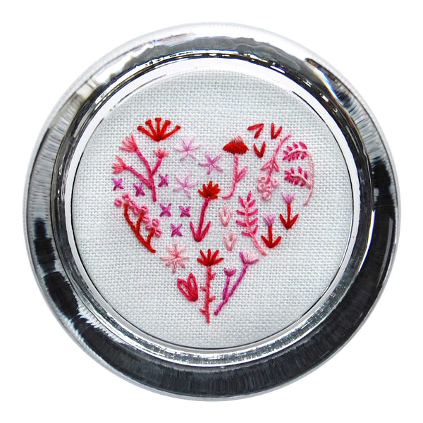 Floral Heart 1 on White Linen Hand Embroidered Paperweight