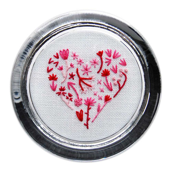 Floral Heart 2 on White Linen Hand Embroidered Paperweight