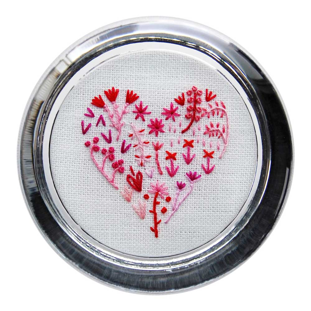 Floral Heart 3 on White Linen Hand Embroidered Paperweight