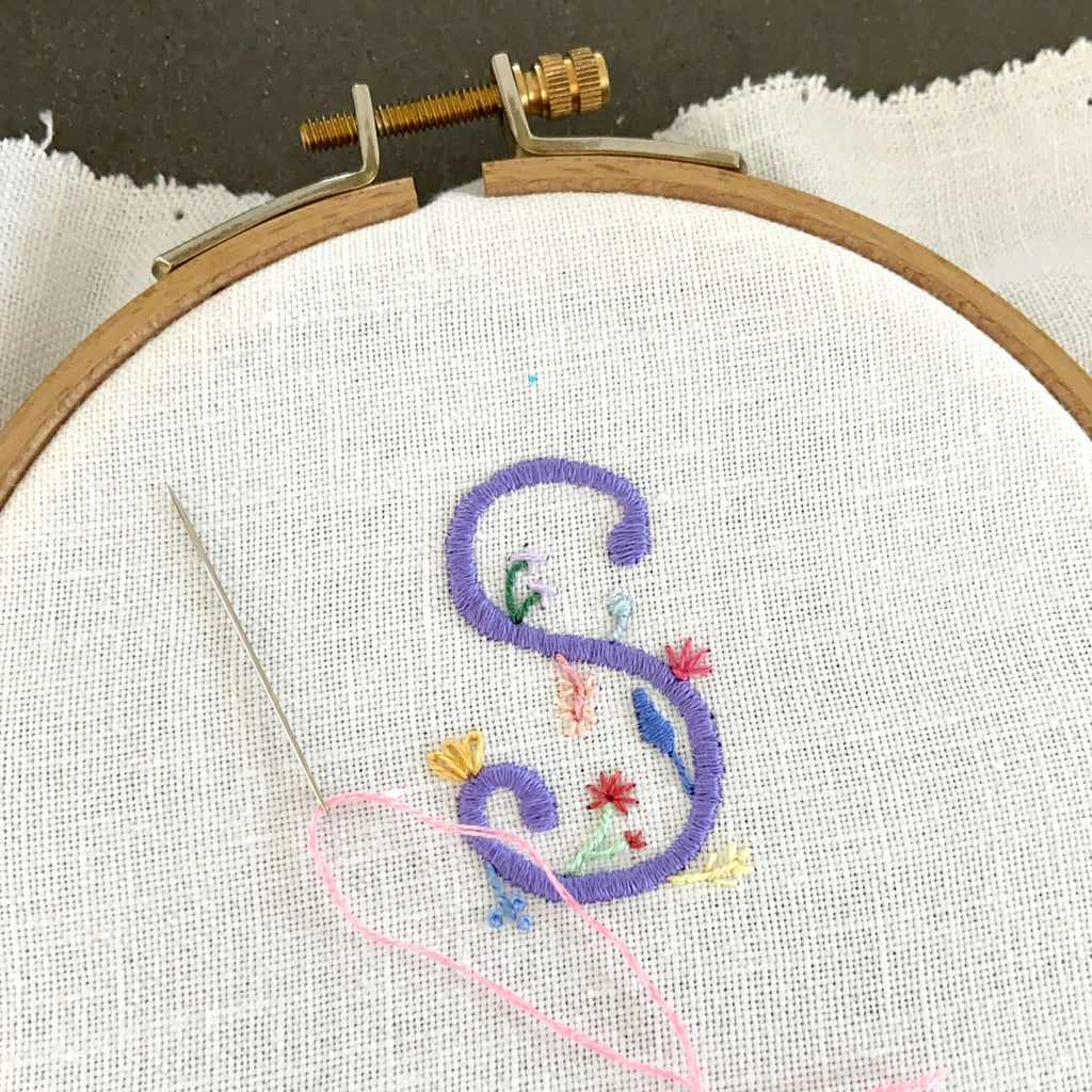"""S"" Hand Embroidered Floral Monogram Art"