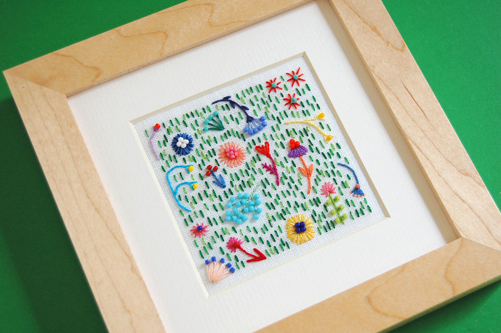 "Beaded Rainbow Flower Field (3"" Square) on White Linen Hand Embroidered Art"