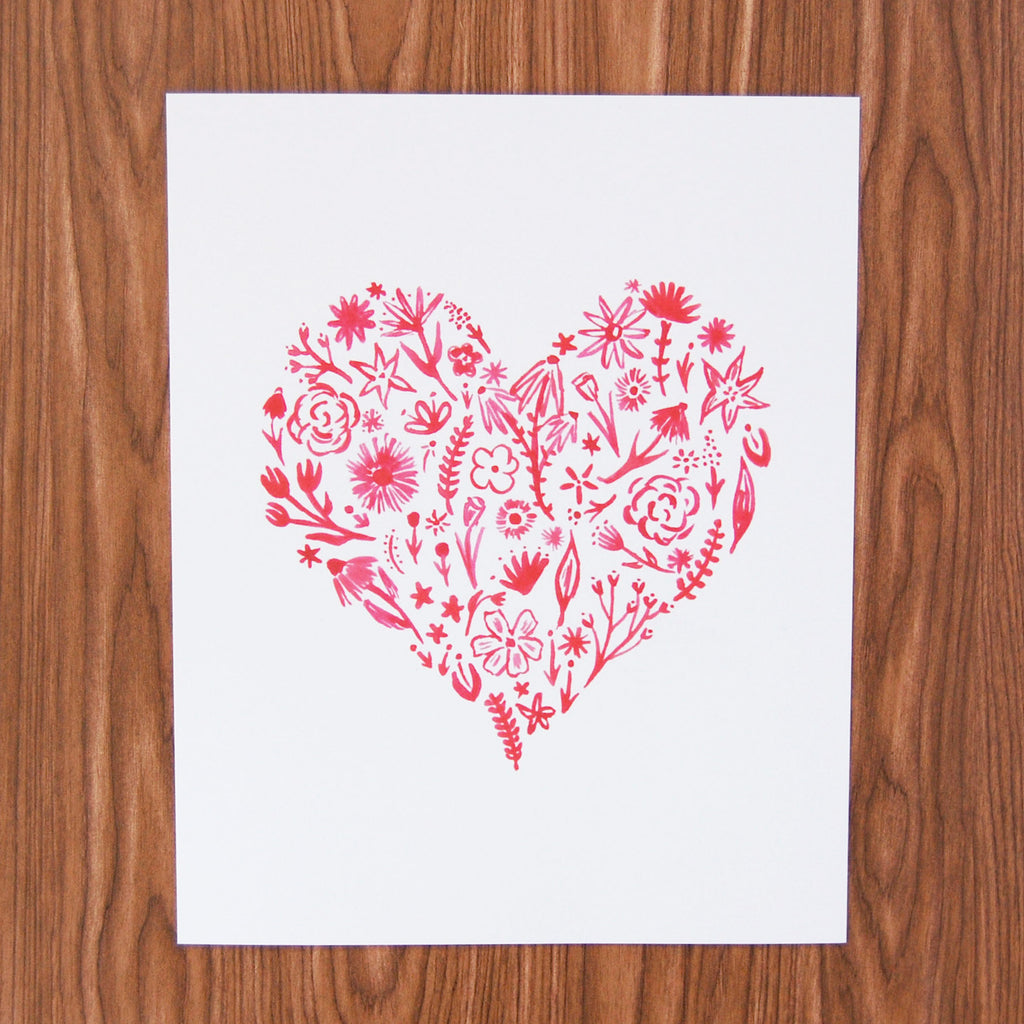 "Red Floral Heart Art Print, 8"" x 10"""