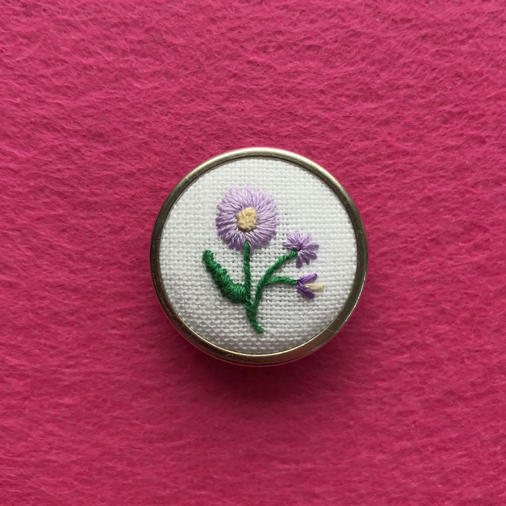 Happy Cactus Designs Hand Embroidered Pin. Image and design copyright Happy Cactus Designs.