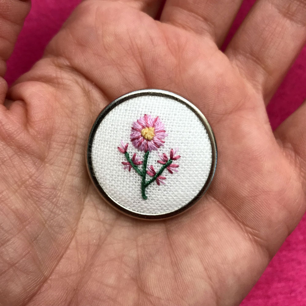 Hand Embroidered Pin - Mixed Pink Flower with Two Stems