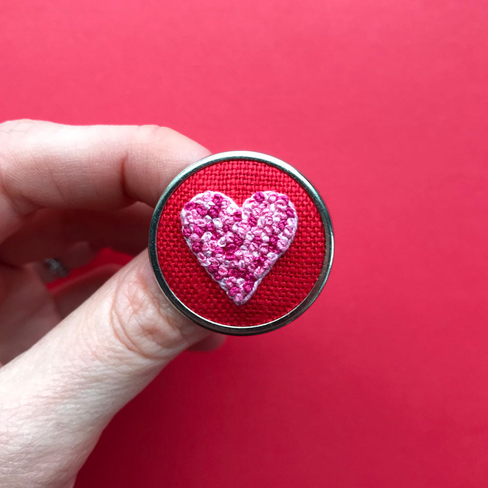 Hand Embroidered Pin - Heart 4 Pinks on Red