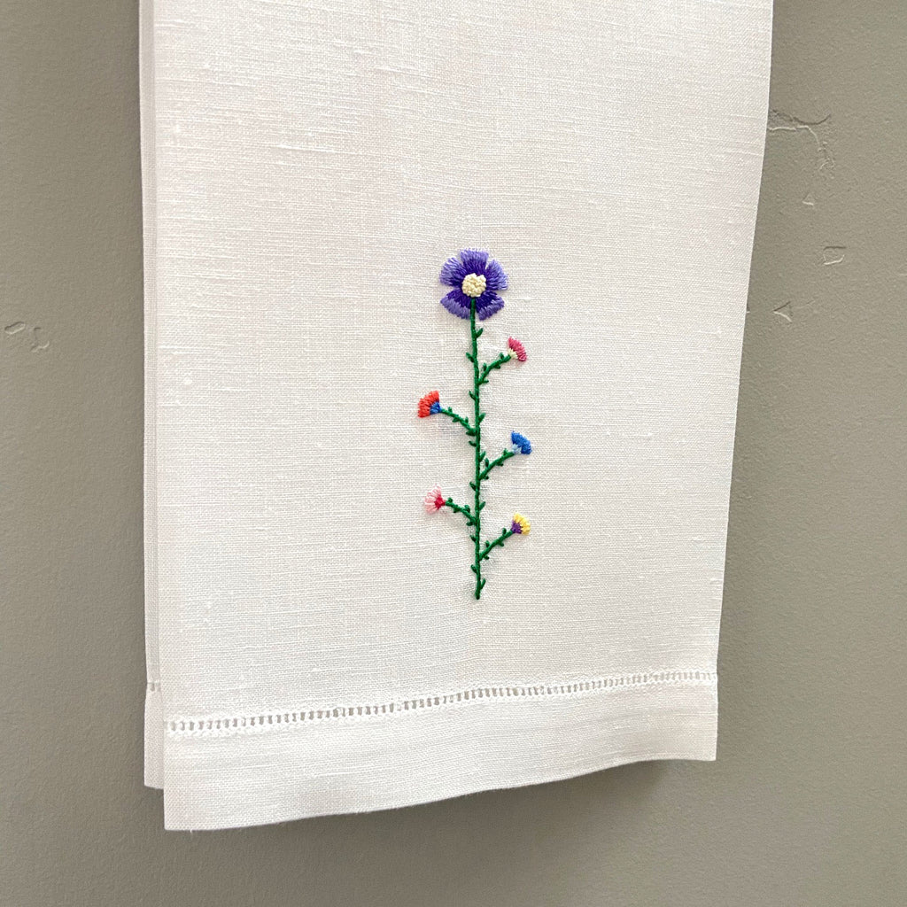 Happy Cactus Designs Hand Embroidered Guest Towel • Image and Design Copyright Happy Cactus Designs LLC