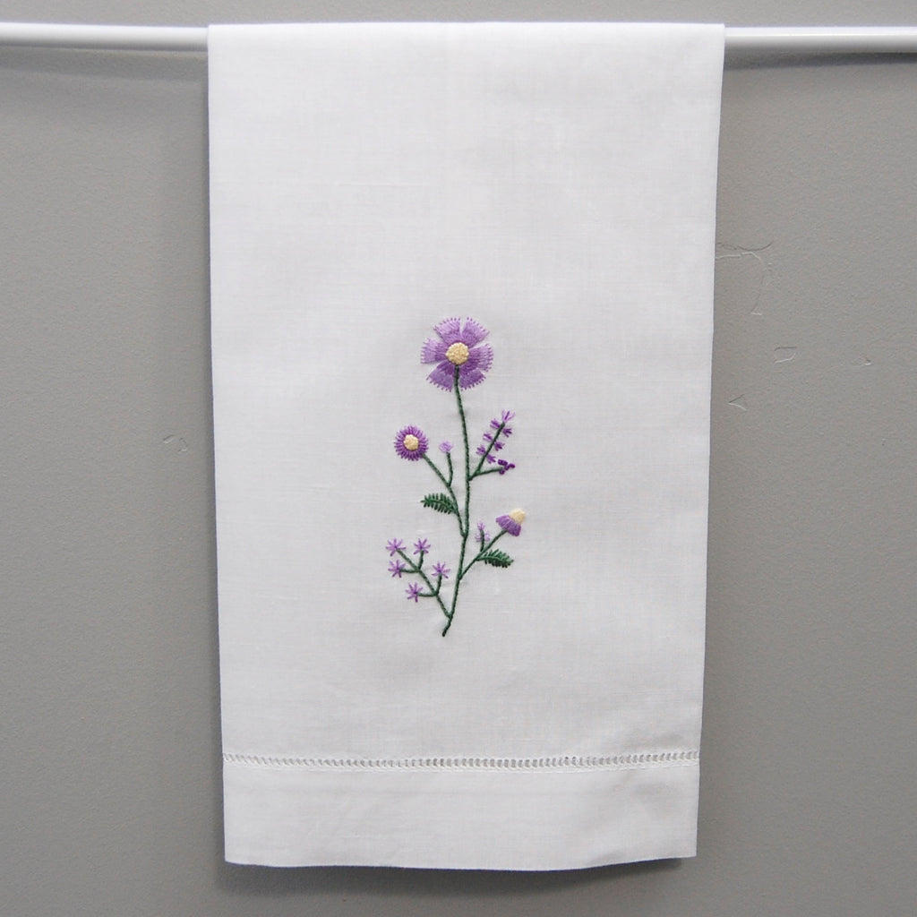 Embroidered Guest Towel - Purple Floral Motif