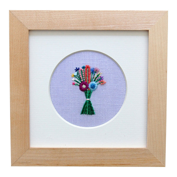 Bouquet with Orange Lupine on Lavender Linen Hand Embroidered Art
