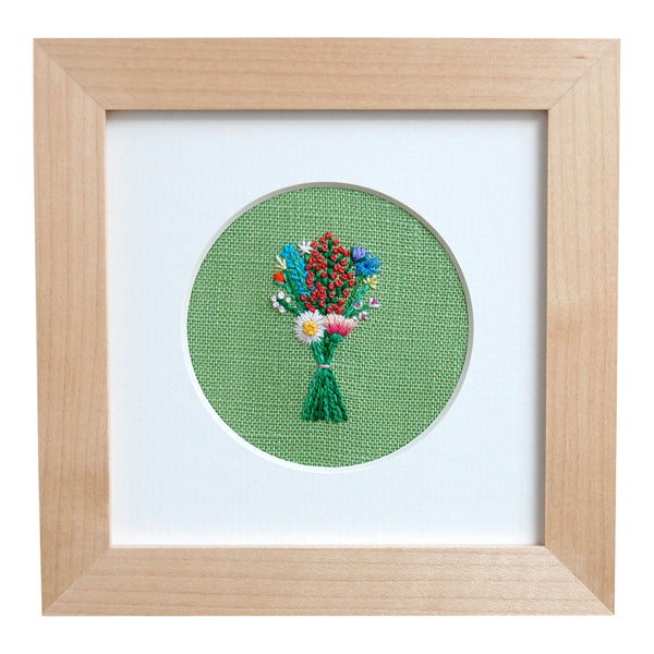 Bouquet with Coral Buds on Green Linen Hand Embroidered Art