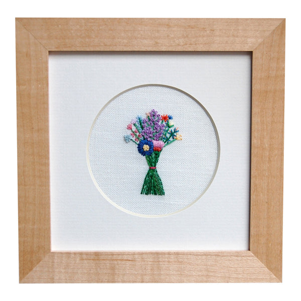 Bouquet with Mixed Purple Buds on White Linen Hand Embroidered Art