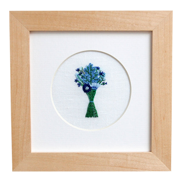 Bouquet with Mixed Blue Flowers on White Linen Hand Embroidered Art