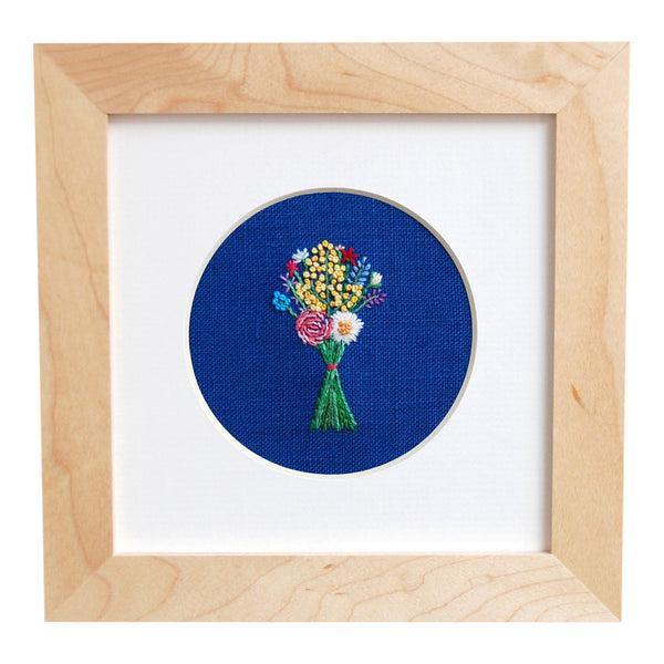 Bouquet with Mixed Yellow Buds on Bright Blue Linen Hand Embroidered Art