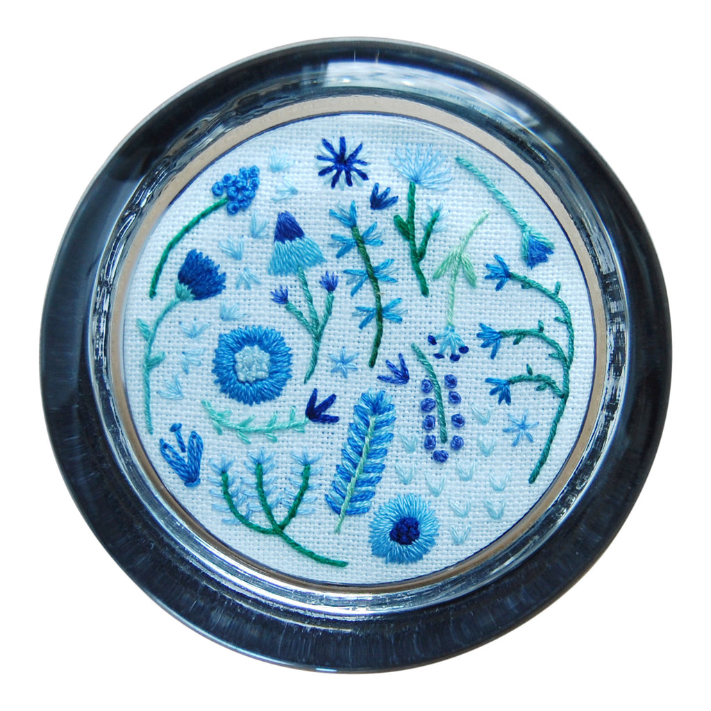 Happy Cactus Designs Hand Embroidered Paperweight. Image and design copyright Happy Cactus Designs.