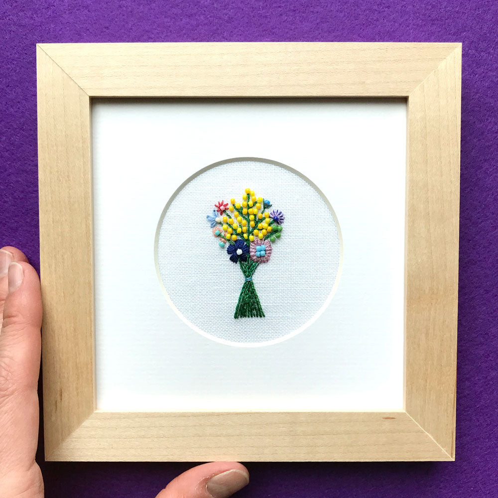 Beaded Floral Bouquet on White Linen Hand Embroidered Art