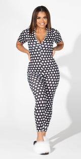 Black polka dots - long pants