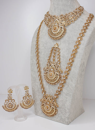 Afsana Semi Bridal Set - Clear and Golden Crystal