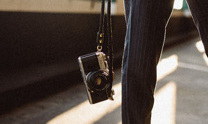Action shot of Keyway's luxury Camera strap