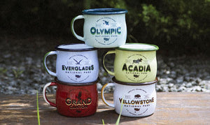 Collection of Keyway's Enamel Camp Mugs from Emalco