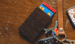 Group shot of Keyway's Wood & Aluminum Card holder and Full-grain leather Keychain