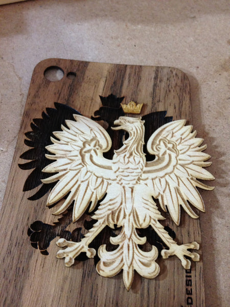 Polish Eagle, Custom Wood iPhone Back, Maple and Jobillo
