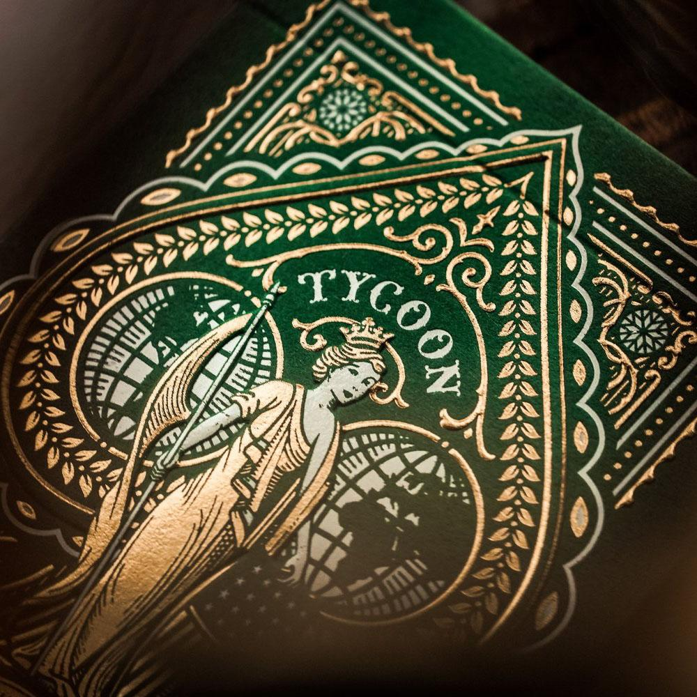 KEYWAY | Theory 11 - Green Tycoon Premium Playing Cards Macro shot of Embossing