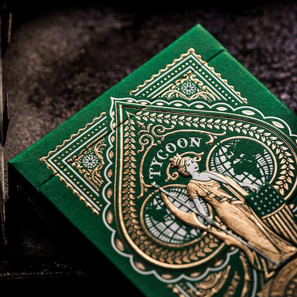 KEYWAY | Theory 11 - Green Tycoon Premium Playing Cards Macro shot of Box Embossing