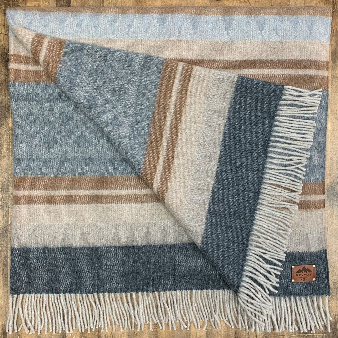 KEYWAY | Alpaca Camp Blanket in the Driftwood Colourway, folded to show full pattern