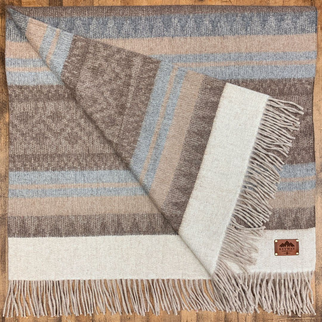 KEYWAY | Alpaca Camp Blanket in the Sandstone Colourway, folded to show full pattern