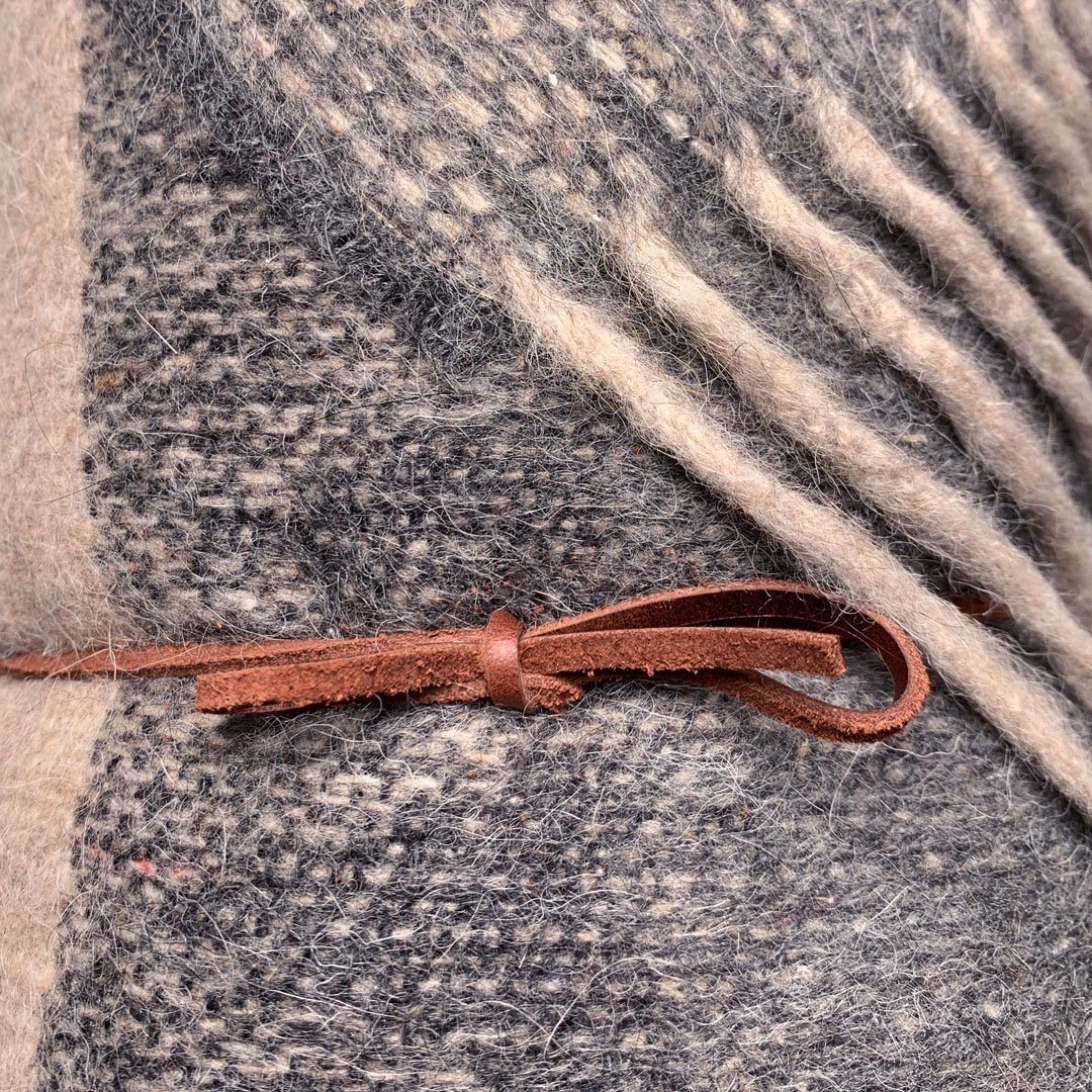 KEYWAY | Alpaca Camp Blanket in the Seaside Colourway, zoomed wool fibre
