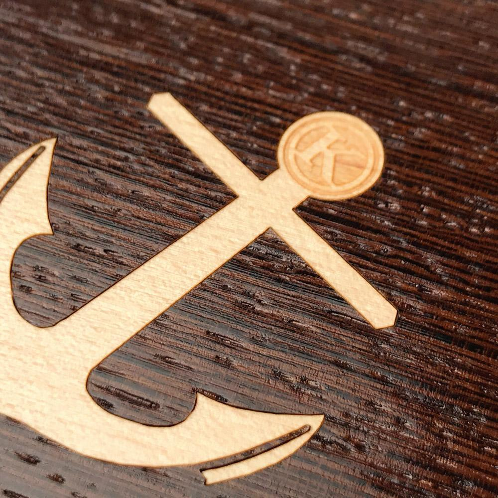 Zoomed in detailed shot of the Anchor Wenge Wood iPhone XR Case by Keyway Designs