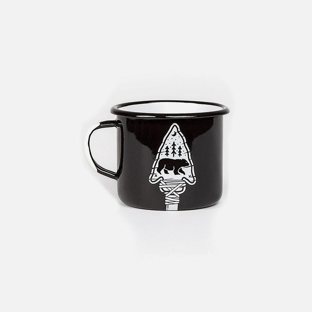 KEYWAY | Emalco - Wisdom Arrow Enamel Mug, Handcrafted by Artisans in Poland, Front View