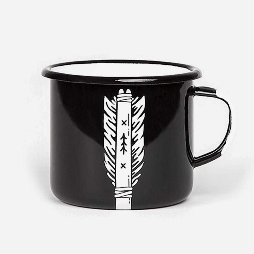 KEYWAY | Emalco - Wisdom Arrow Enamel Mug, Handcrafted by Artisans in Poland, Back View
