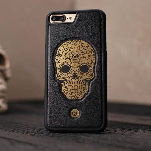 wholesale dealer 4e352 bf0e6 Auric | Handmade Gold & Black Leather iPhone 7/8 Plus Case by Keyway