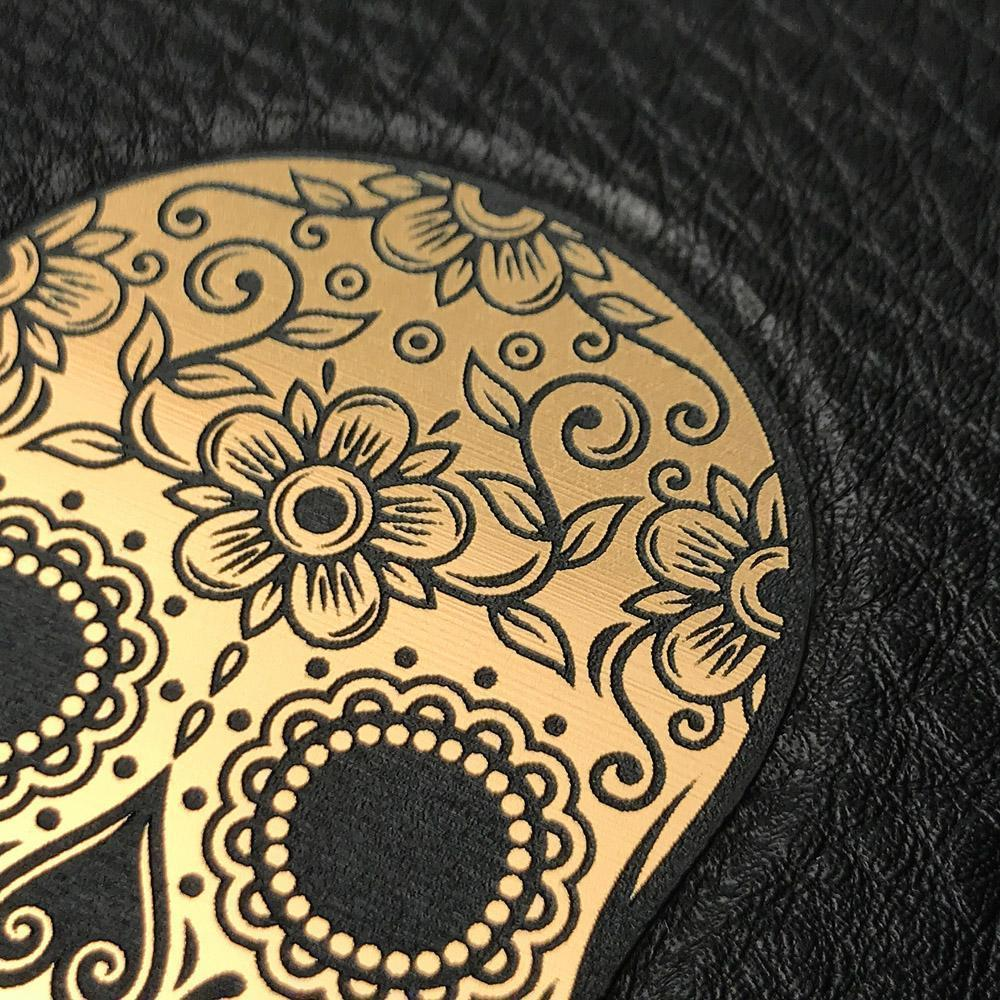 Zoomed in detailed shot of the Auric Black Leather iPhone 11 Pro Max Case by Keyway Designs