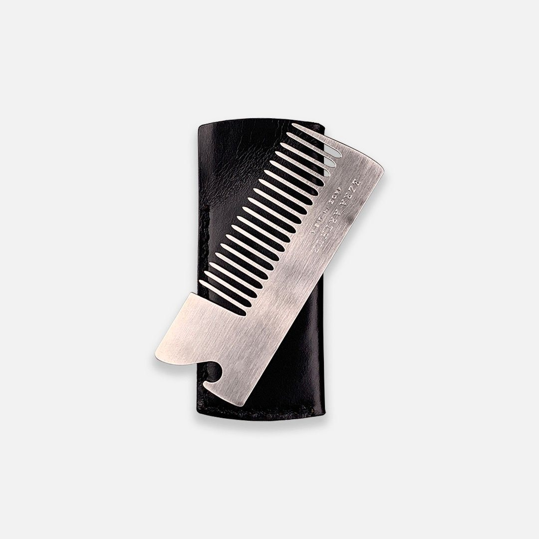 Ezra Arthur - No.18 Beard Comb in Jet Black Horween Leather, Handcrafted in the USA
