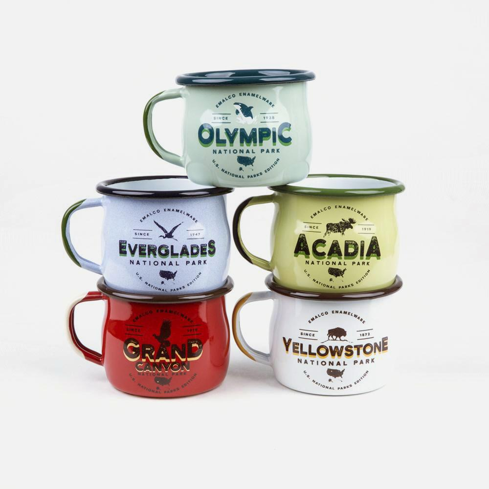 KEYWAY | Emalco - Yellowstone Bellied Enamel Mug, Handcrafted by Artisans in Poland, Selection Group Shot
